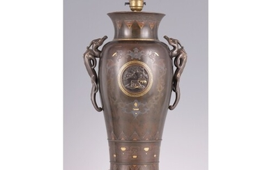 A LARGE MEIJI PERIOD JAPANESE MIXED METAL AND BRONZE VASE co...