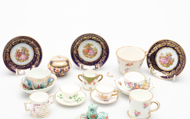 A MINIATURE PORCELAIN TEA SET AND A CABINET CUP AND SAUCER AND OTHER ITEMS.