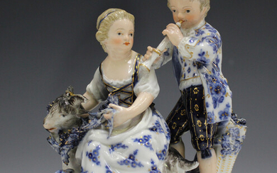 A Meissen figure group representing Autumn, late 19th century, modelled after Schönheit as a gi