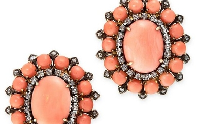 A PAIR OF ANTIQUE CORAL AND DIAMOND EARRINGS in high