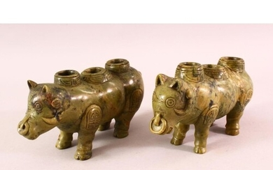 A PAIR OF CHINESE TIBET CARVED SOAPSTONE MYTHICAL BEAST CAND...