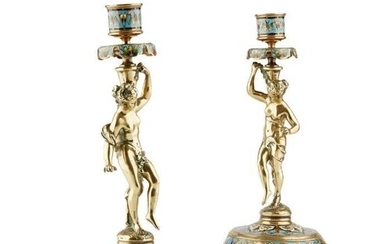 A PAIR OF LATE 19TH CENTURY FRENCH BRONZE AND CHAMPLEVE ENAM...