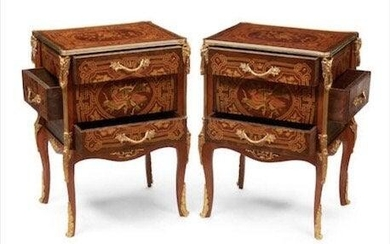 A PAIR OF LOUIS XVI STYLE GILT BRONZE MOUNTED COMMODES