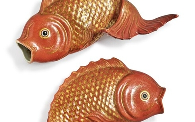 A Rare Pair of Chinese Export Iron-red and Gilt Carp-form Wall Vases, Qing Dynasty, Late 18th / Early 19th Century   清十八世紀末 / 十九世紀初 礬紅彩描金鯉魚形壁瓶一對