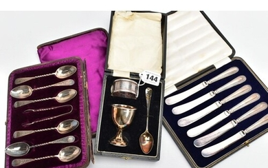 A SET OF SILVER CUTLERY, A SILVER CHRISTENING GIFT SET AND A...