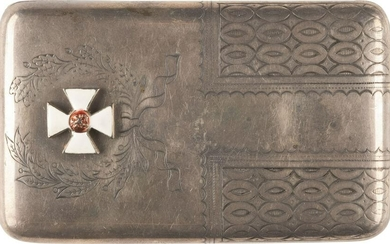 A SILVER CIGARETTE CASE WITH THE ORDER OF ST. GEORGE