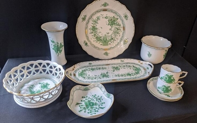 A collection of Herend green floral porcelain to