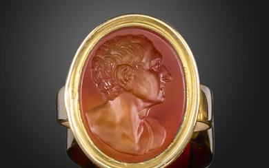 A late 18th century carnelian intaglio-mounted gold ring