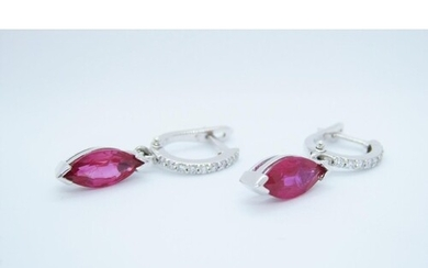 A pair of Ruby and Diamond drop Earrings, each pavé-set, a l...