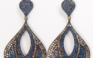 A pair of sapphire, diamond and blackened silver earrings
