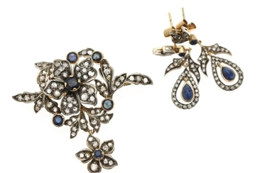 NOT SOLD. A sapphire and diamond jewellery set comprising a brooch and a pair of...