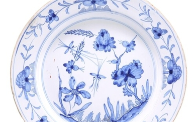 AN ENGLISH DELFT BLUE AND WHITE PLATE, PROBABLY LIVERPOOL, C...