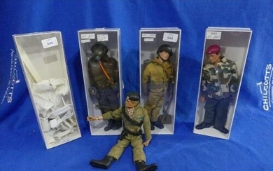 Action Man; A collection of four 1970's 'Flock Head' Figures...