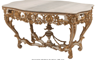 An Italian Carved, Painted, and Partial Gilt Salon Table with Marble Top (18th century)