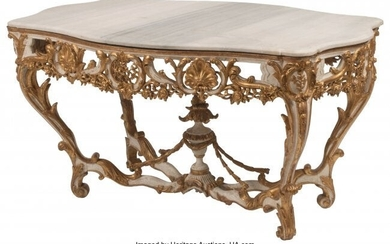 An Italian Rococo Carved, Painted, and Partial G