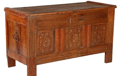 (-), Antique oak blanket chest with fired panel,...