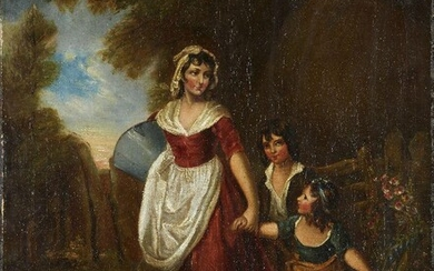 British School, early-mid 19th Century- A mother walking with two children on a summer's day; oil on canvas, 51 x 40.5 cm., stamped 'J. HARVEY. / Catherine S / STRAND / LONDON' on the reverse, (unframed). Provenance: Private Collection, UK.