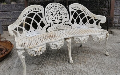 Cast iron three seater garden bench in the Coalbrookedale st...