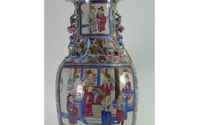 Chinese Cantonese 19th century tall vase: Measuring 43cm app...
