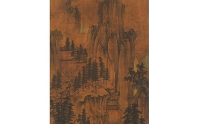 Chinese wall hanging scroll decorated with figures before mo...