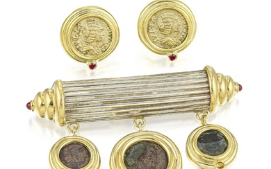 Coin Earrings and Brooch Set