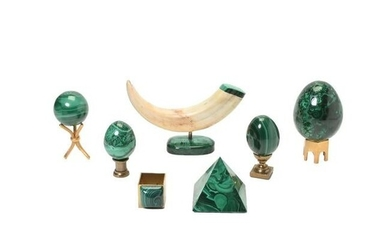 Collection of Malachite Desk Articles Including Tusk.