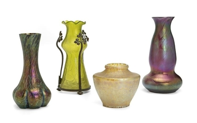Four Loetz iridescent glass vases
