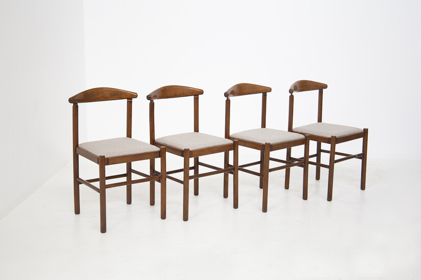 Four wooden chairs. Italy. 1950s