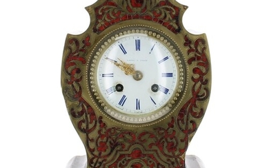 French Boulle and ebonised two train mantel clock, the movem...