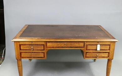 French Louis XV Style Desk with Leather Top