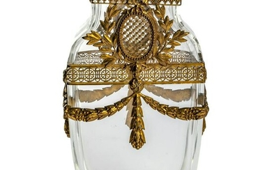 French Mounted Crystal and Gilt Bronze Floral Vase