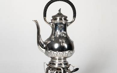 French Sterling Silver Hot Water Kettle-on-Stand