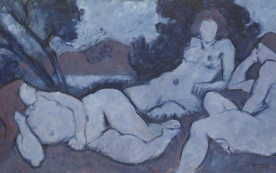 Fyffe Christie, British 1918-1979 - Three Figures by a Lake, 1975; oil on board, signed and dated lower right 'Fyffe Christies 1975', 62.5 x 110.5 cm (ARR) Provenance: Roseberys, London, Modern & Contemporary British Art, 24th September 2019, lot...