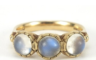 Georgian style 9ct gold cabochon moonstone ring, size O, 3.9...