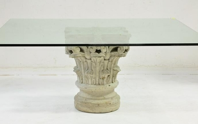 Glass Top Table With Stone Column Top Pedestal Base