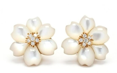 Gold, Mother-of-Pearl, and Diamond Flower Motif