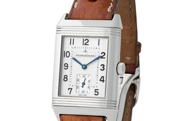 Jaeger LeCoultre. Charming and Valuable Reverso Grand Taille rectangular-shape reversible wristwatch in Steel, Reference 270.8.62 With Box and Papers