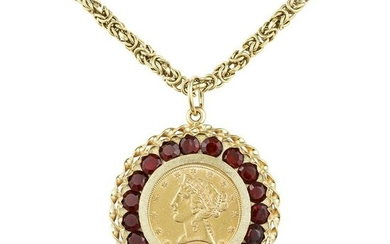 Lady Liberty Five Dollar Gold Coin Garnet Pendant and