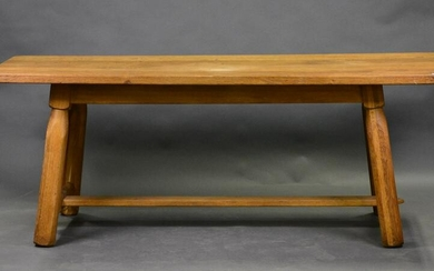 Large Oak Farm Table With Stretcher Base