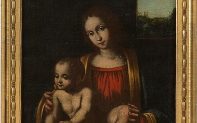 Madonna and Child Oil on Canvas, 19th Century