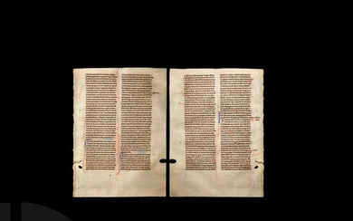 Medieval French Bible Manuscript Page