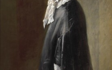 Michael Ancher: Mrs Brøndum standing in full figure. Signed and dated M. A. 16. Oil on canvas. 177 x 90 cm. – Bruun Rasmussen Auctioneers of Fine Art