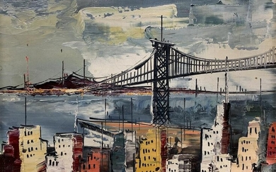 Mid Century Modern Oil On Canvas Cityscape Signed