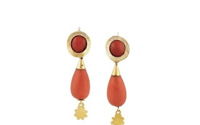 PAIR OF CORAL AND GOLD EARRINGS