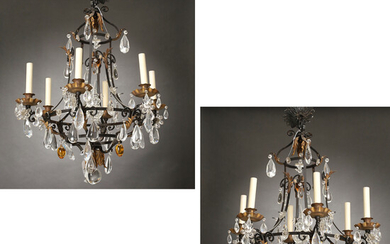 Pair Continental gilt tole & crystal chandeliers