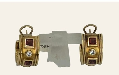 Pair of Charles Greig earrings 18k yellow gold with diamonds...