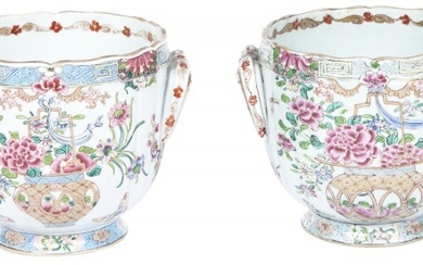 Pair of Chinese Famille Rose Enameled Porcelain Cache Pots