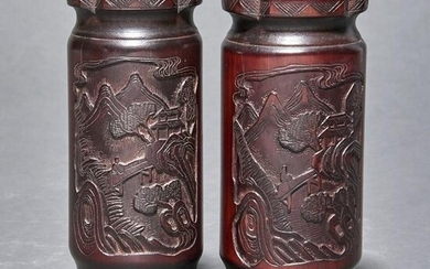 Pair of Chinese bamboo carved brush pots