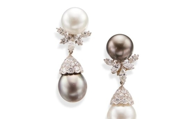 Pair of Cultured Pearl and Diamond Pendant-Earclips