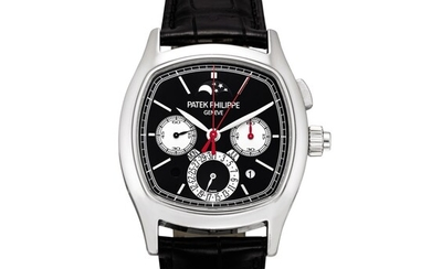 Patek Philippe   Reference 5951, A platinum perpetual calendar split seconds chronograph wristwatch with moon phases, day and night and leap year indication, Circa 2013   百達翡麗   型號5951 鉑金萬年曆追針計時腕錶,備月相、晝夜及閏年顯示,約2013年製
